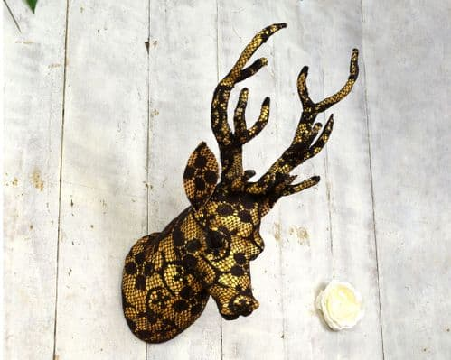 Lace Gold Reindeer head 38cm
