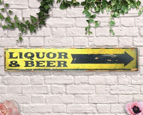 Liquor And Beer Aged Wooden Sign
