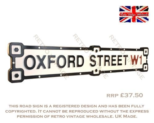 Oxford Steet W1 Industrial White Road Sign