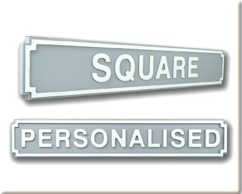 Personalised Square Shape Wooden Street Sign Grey & White Letters