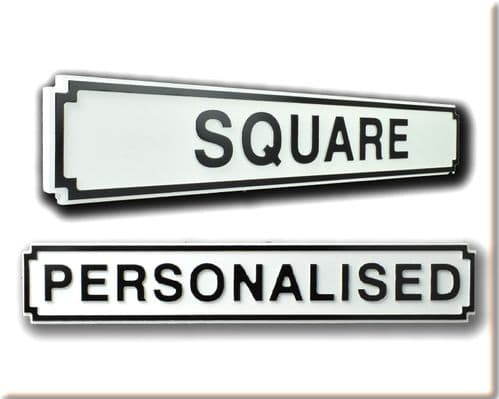 Personalised Square Shape Wooden Street SignWhite & Black Letters